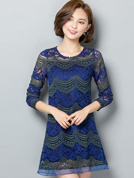 Ericdress Wave Pattern Crochet Blouse