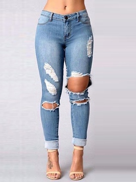Ericdress Unique Solid Color Skinny Hole Jeans