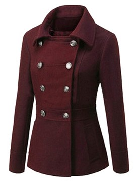 Ericdress Double-Breasted Turn-Down Solid Color Coat