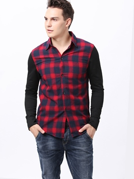 Ericdress Color Block Plaid Casual Men's Shirt