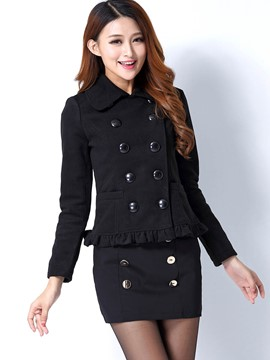 Ericdress Solid Color Double-Breasted Frill Coat