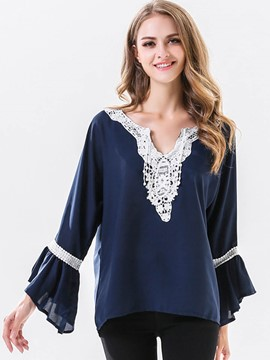 Ericdress Lace Panel Blue Blouse
