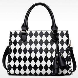 Ericdress Black White Geometric Plaid Handbag