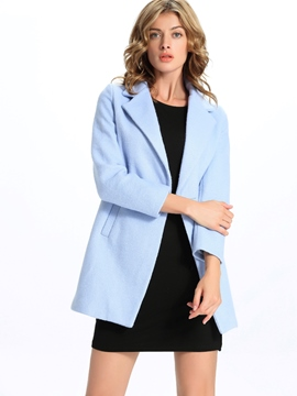 Ericdress Solid Color Two-Button Elegant Coat