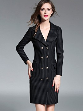 Ericdress Slim Stripped Double-Breasted Coat