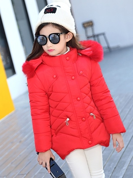 Ericdress Asym Plain Hooded Girls Puffer Coat