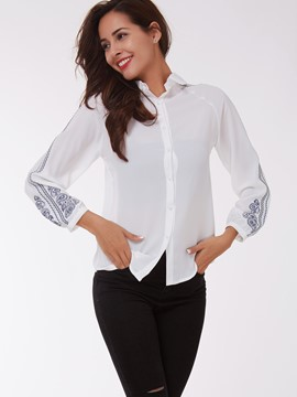 Ericdress White Printed Vogue Blouse
