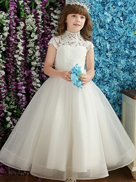 Ericdress Vintage High Neck Cap Sleeves Floor Length Flower Girl Dress