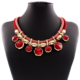 Ericdress Multilayer Ruby Inlaid Necklace