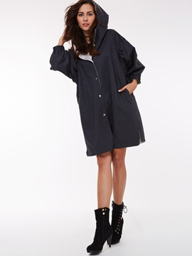 Ericdress Color Block Loose Single-Breasted Trench Coat