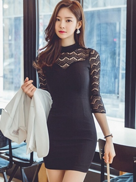 Ericdress Solid Color Stand Collar Patchwork Bodycon Dress