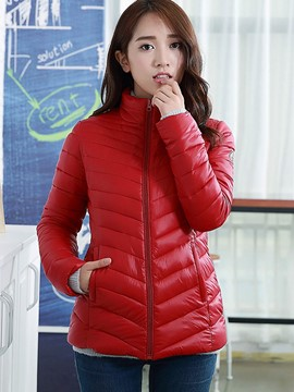 Ericdress Solid Color Slim Zipper Coat