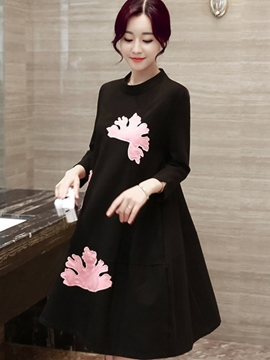 Ericdress Patchwork Embroidery Stand Collar Casual Dress