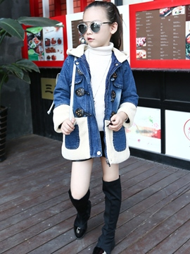 Ericdress Hooded Fur Thick Denim GCirls Coat