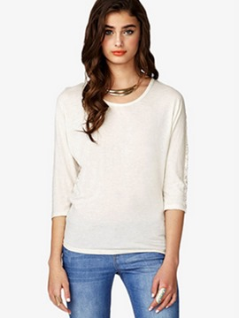 Ericdress White Lace Patchwork Three-Quarter T-Shirt