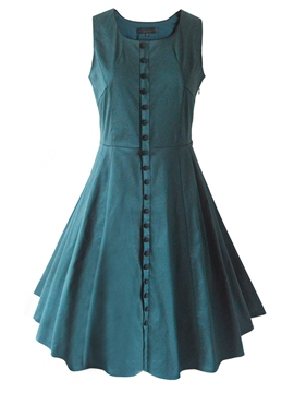 Ericdress Plain Button Scoop Pleated Casual Dress