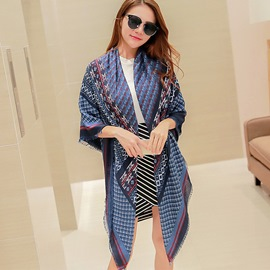 Ericdress Geometric Lattice Cotton Scarf