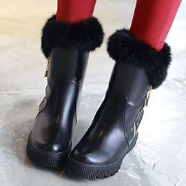 Ericdress PU Furry Side Zip Ankle Boots