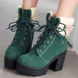 Ericdress Rhinestone Suede Lace-Up Ankle Boots