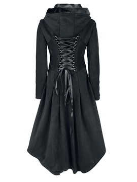 Ericdress Solid Color Single-Breasted Lace-Up Coat