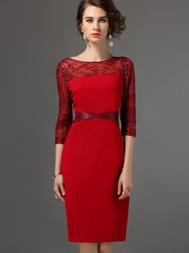 Ericdress Solid Color Patchwork Round Neck Sheath Dress