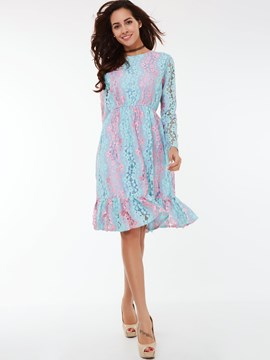 Ericdress Color Block Lace Patchwork Lace Dress