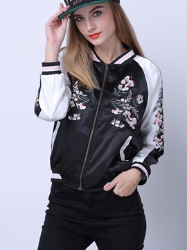 Ericdress Casual Color Block Embroidery Jacket