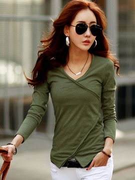 Ericdress Solid Color Oblique Trim T-Shirt