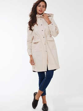 Ericdress Loose Single-Breasted Plain Trench Coat