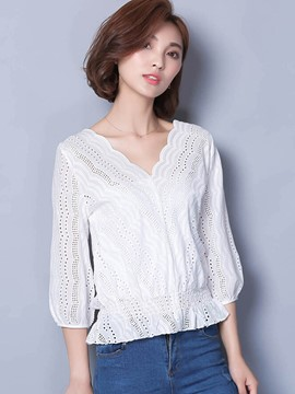 Ericdress White Wave Trim V-Neck Blouse