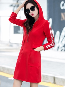 Ericdress Hooded Strip Patchwork Pocket Casual Dress