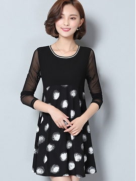 Ericdress Dots Patchwork A-Line Casual Dress