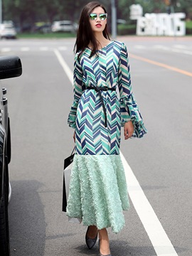 Ericdress Ruffle Sleeve Mermaid Patchwork Maxi Dress