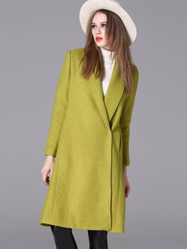 Ericdress European Solid Color Straight Coat