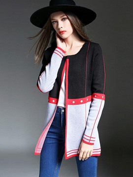 Ericdress Color Block Cardigan Vogue Knitwear