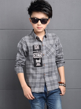 Ericdress Letter Plaid Boy's Shirt
