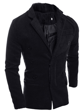 Ericdress Plain Hidden Button Casual Style Men's Trench Coat