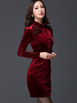 Ericdess Stand Collar Appliques Slim Bodycon Dress