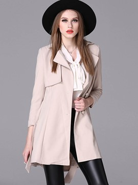 Ericdress Slim Wave Cut Lace-Up Trench Coat