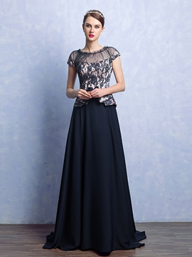 Ericdress A-Line Scoop Cap Sleeves Beading Lace Court Train Evening Dress