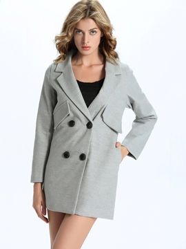 Ericdress Solid Color V-Neck Straight Coat