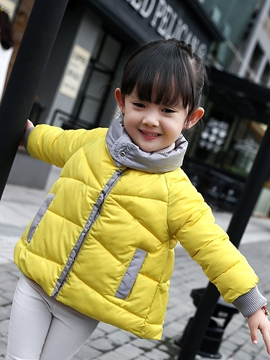 Ericdress Plain Lapel Girls Puffer Coat