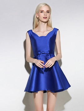 Ericdress A-Line Square Bowknot Short Cocktail Dress