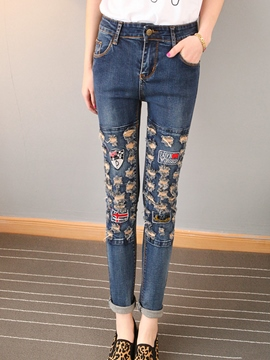 Ericdress Worn Holes Letter Print Low-Waist Skinny Jeans