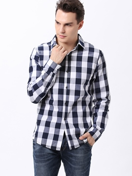 Ericdress Plaid Soft Fabric Casual Long Sleeve Men's Shirt