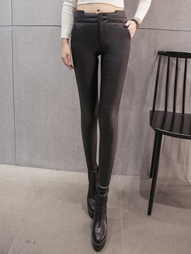 Ericdress Skinny PU Leggings Pants