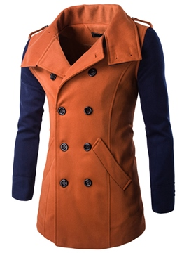 Ericdress Color Block Double-Breasted Vogue Men's Woolen Coat