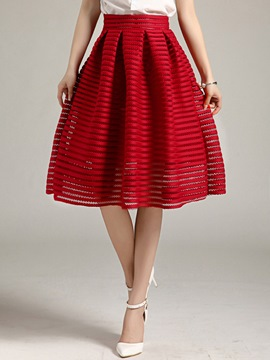 Ericdress Hollow Pleated Usual Skirt