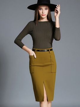 Ericdress Ladylike Unique Split Skirt Suit