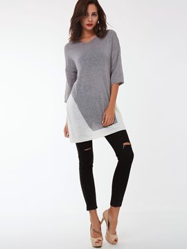 Ericdress Color Block Three-Quarter Sleeve Knitted Casual Dress